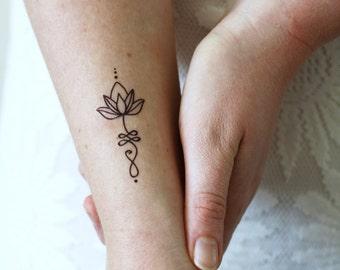 Unalome lotus temporary tattoo set of two / bohemian temporary tattoo / unalome tattoo / lotus tattoo / lotus fake tattoo / boho gift idea