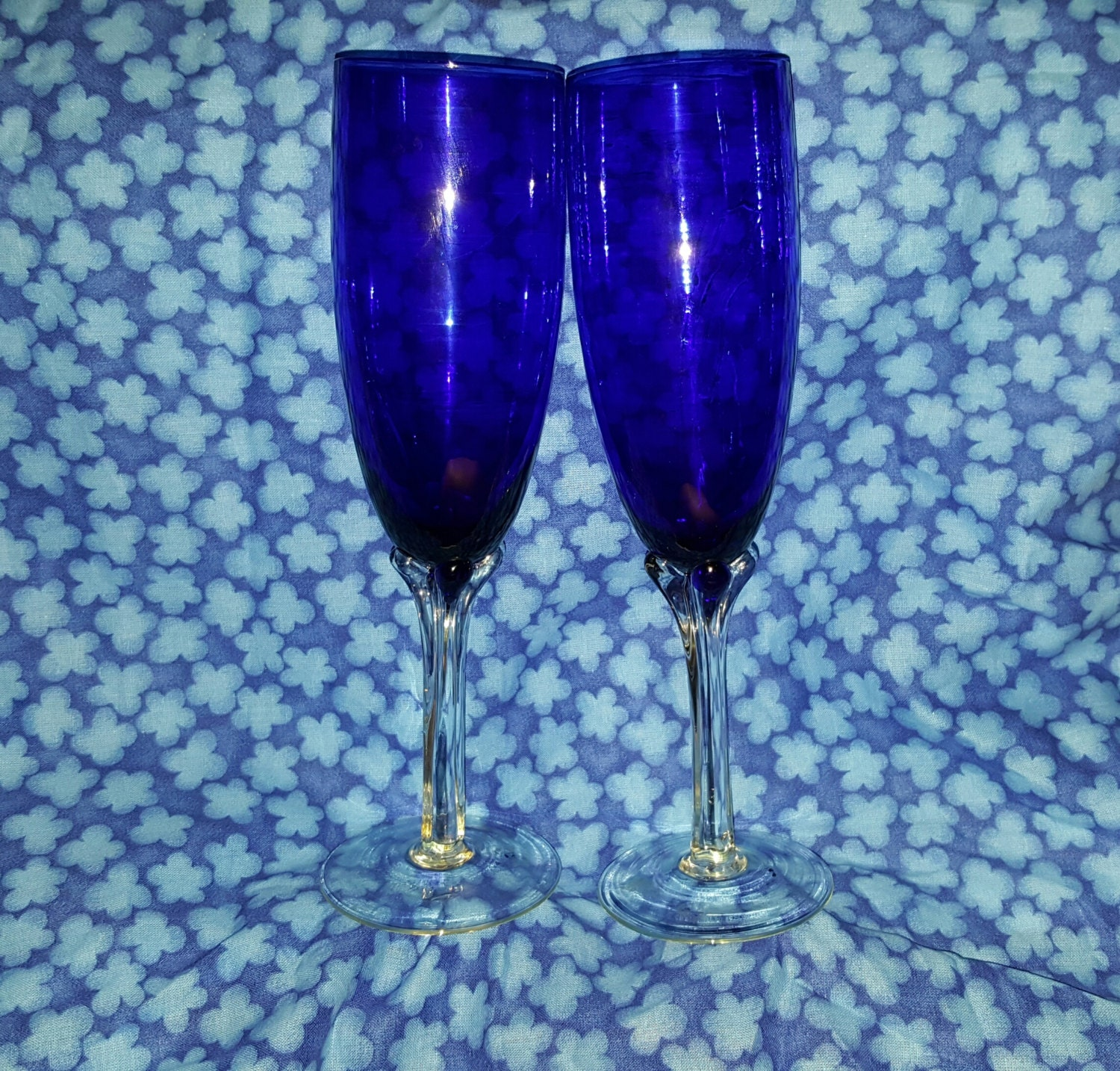 Vintage hand blown royal blue italian champagne flutes with - Hand blown champagne flutes ...