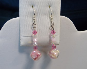 Pearly Pink Czech Glass Earrings