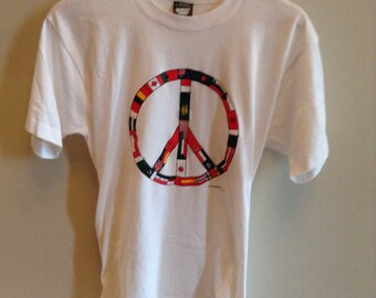 Vintage Peace Sign - Country Flags shirt - LARGE