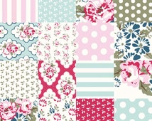 Wiltshire Daisy Quilt Fabric, Riley Blake DC4333 Pink Cheater Fabric, Carina Gardner, Floral Fabric, Dots & Stripes, Red, Pink, Aqua Cotton