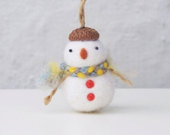 needle felted snowman ornament, Christmas ornament, needle felted ornament, Christmas gift for kid, snowman decoration, christmas decoration