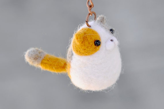 Needle felt amigurumi cat keychain kitty keychain needle