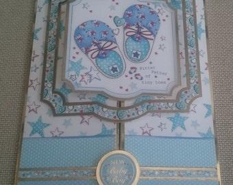 Handmade C5 Gatefold Greeting Card - Baby Boy