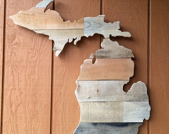 "Michigan Shaped Wall Art! (Or any State) Reclaimed Pallet Wood, about 24"" x 24"""