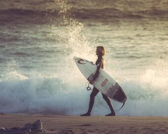 Surfer Print California Surfing Ocean Photography Nautical Decor Beach Decor Coastal Decor Beach House Decor Beach Wall Decor