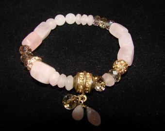 Vintage Rose Quartz Stones With Swarovski And Rhinestone Beads