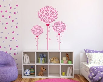 Three Bubble Gum Trees Circle Flowers Vinyl Wall Decals