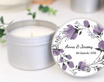 Personalised wedding favours / bomboniere. Soy candle tins. Purple Wreath design by Mahina