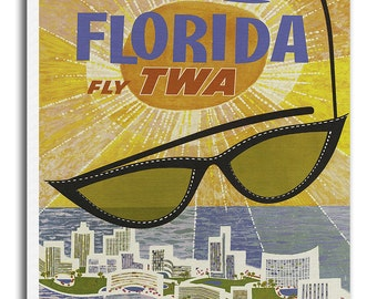 Vintage Florida Art Canvas Print Travel Poster Hanging Retro Wall Decor xr905