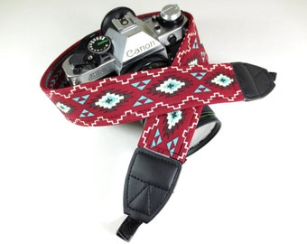 Southwestern Camera Strap - Red and Turquoise - DSLR / SLR