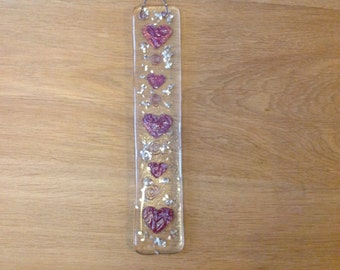 Fused Glass Suncatcher Copper Hearts & Swirls