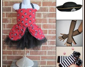 Pirate Costume , red Pirate, Girls Pirate, Pirate tutu, black and red pirate