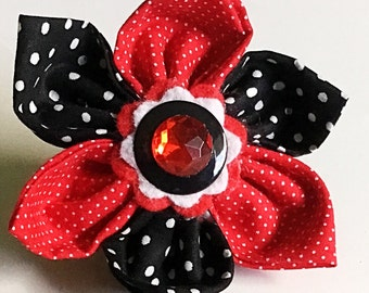 Red & Black Polka Dot Flower for Girl Dog or Cat Collar