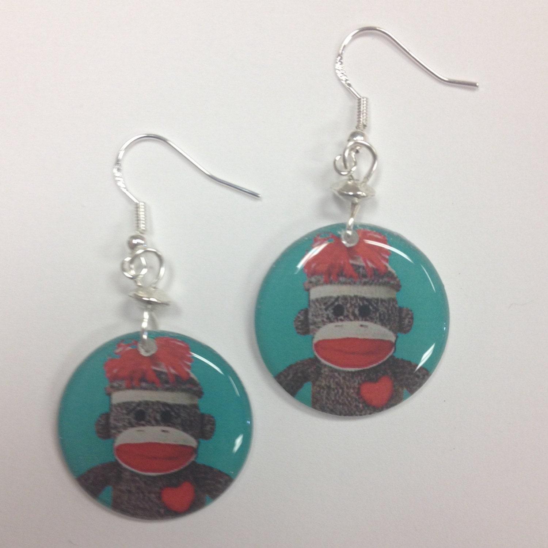 sock monkey earrings on sterling silver earwires