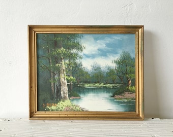 Vintage Mid-Century Small Original Oil Painting Forest Trees Stream Signed and Framed