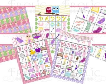 Baby Shower Bingo: 30 Cards Baby Girl INSTANT DOWNLOAD
