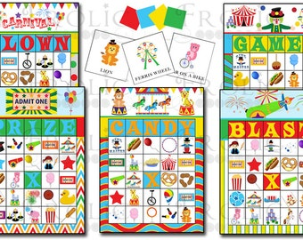Circus Carnival Bingo 50 printable cards INSTANT DOWNLOAD