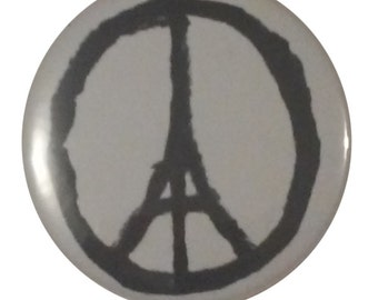 Pray for Paris Eiffel Tower Art France Design Pin 2.25 Inch Round Pinback Button Badge