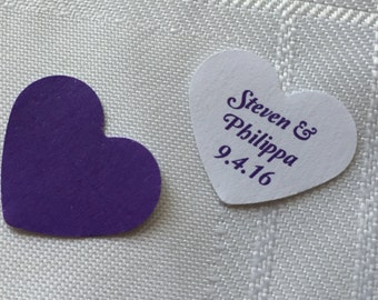 150 Personalised and accent handmade heart shaped wedding table scatter confetti