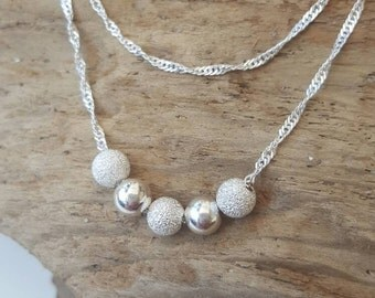 Sterling silver double strand beaded necklace
