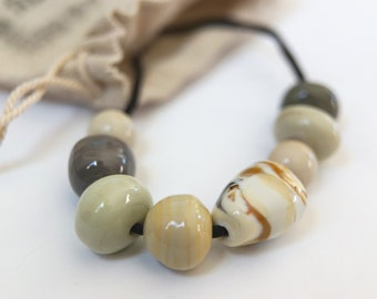 The Botticelli Collection- Lampwork beads on hand dyed sillk cord necklace - OOAK