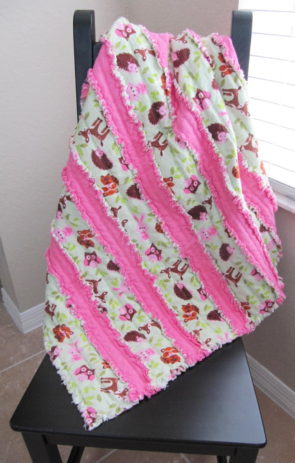Woodland Animal Jelly Roll Rag Quilt In Pink And Green Baby