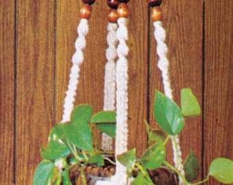 VINtAGE 1970s MaCRAME HaNGING POt PlanT HolDer or FRuIt BaSket BEADs ANd BaLl SPACe Size 165 Cms 4 ply-MacRAMe Pattern PdF Instant Download