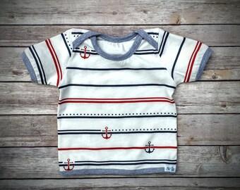 Baby Boy Cotton T-Shirt, Infant Boy Cotton Clothes, Baby Boy Striped Tee, Infant Boy Summer Clothes, Baby Boy Gift
