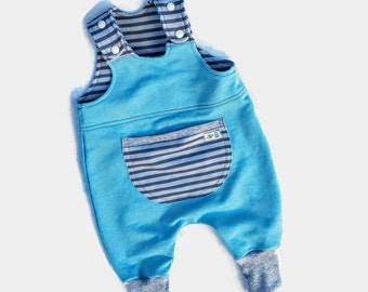 Baby Boy Cotton Romper, Baby Blue Overalls, Baby Boy French Terry Jumpsuit, Baby Boy Cotton Clothes, Baby Boy Gift