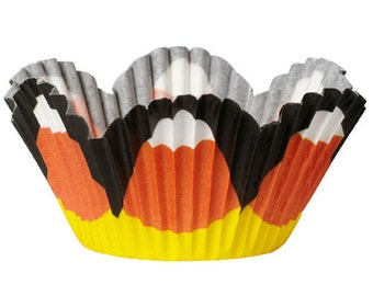 Candy Corn Petal Wilton Halloween Mini Cupcake Liners Baking Cups Muffin Cups - candy corn mini cupcake liners - baking supplies