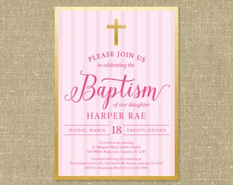 Gold Baptism Invitation - Printable PDF