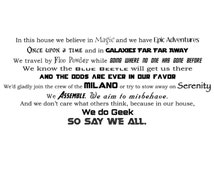 In this house we do Geek - The Ultimate Geekery Fandom Vinyl Wall Decal - In this family - House Rules - Nerdy - Funny