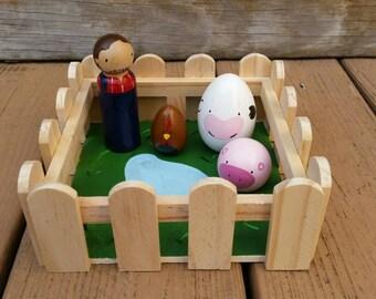 Down on the Farm Peg Doll Play Set - 5  Piece Set Includes Farm Yard Box