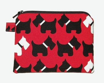 Red Scottie Dog Zipper Coin Purse - small Padded Pouch - Dog Purse - Red Purse - Animal Purse - small Zipper Pouch - Dog Bag