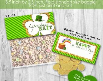 Instant Download Leprechaun Bait, Happy St. Patrick's Day Bag Topper