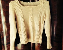 Isabel Sweater/Hand Made Pure Wool Sweater/Cream Pleated Cable Jumper/60's Hippie Sweater/Grunge/Boho Cream Sweater/Cream Sweater/S/M
