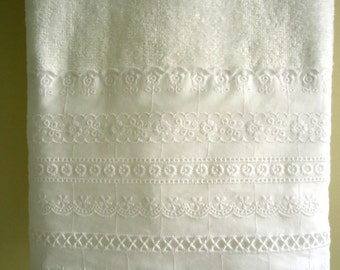 EYELET LACE Hand Towel (1) White Velour 100% Cotton Lace Trim New Custom-embellished