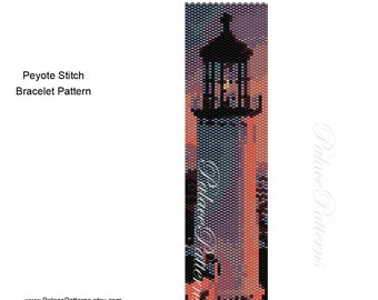 Lighthouse 1 Peyote Stitch Bracelet Bead Weaving Pattern