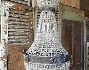 Beautiful, vintage pear shaped Belgian ormolu style chandelier