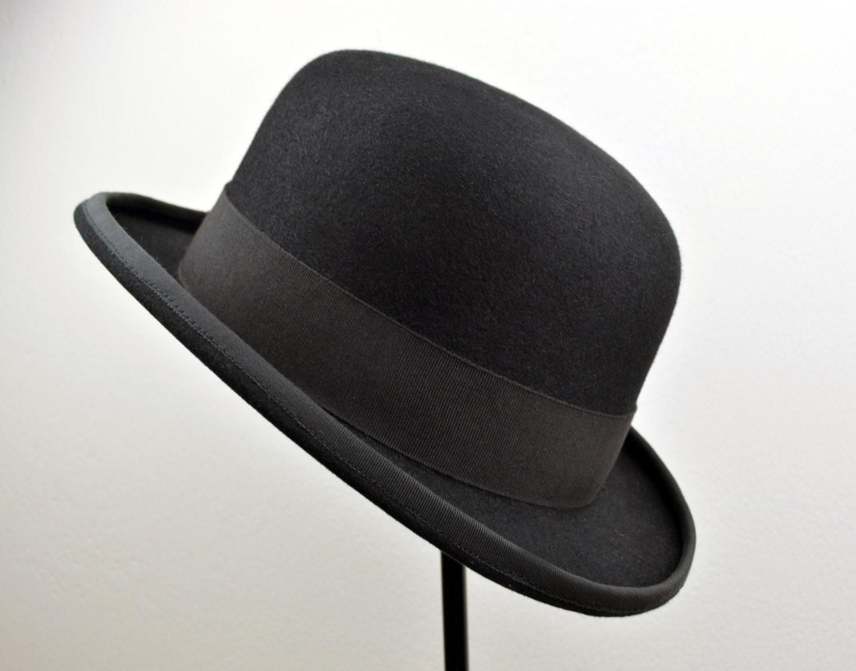 black bowler hat fur felt bowler derby hat handmade