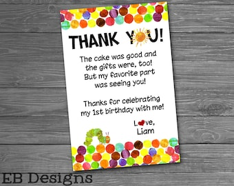 Hungry Caterpillar Thank You Note