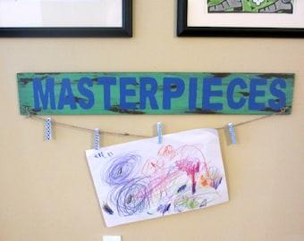 Masterpieces wood sign, Kid's artwork display, wood sign, wood sign for displaying children's artwork, gift
