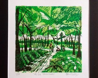 Original linocut print. 'At the crossroads' edition of 18.