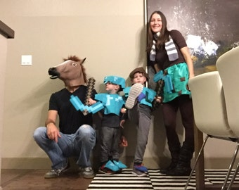 Set of Minecraft sibling and Mom Halloween Costumes