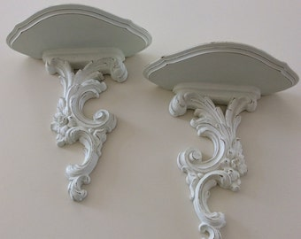 French Shabby Chic Shelves,  Painted White Wall Sconces, Syroco Wood Shelves, Cottage White Home Decor