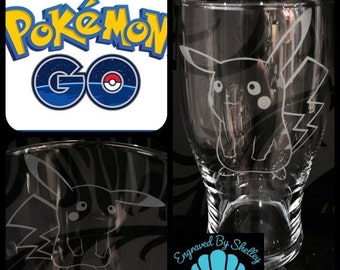 Personalised Pokemon Go Pint Glass. PIKACHU! Free Name Engraved Totally Unique Gift!