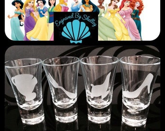 Personalised Disney Princess Shot Glasses. Set of 4 ! Totally Unique Gift For Any Disney Fan!