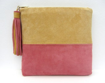 Handmade Sand and Soft Rose Pink Suede Clutch With Tassel