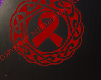 Burgundy Awareness Ribbon Celtic Knot  Vinyl Window Decal (Brain Aneurysm, Multiple Myeloma, Sickle Cell Anemia, Williams Sydrome)